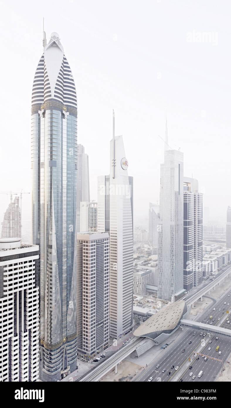 Modern architecture, high-rise buildings, Sheikh Zayed Road, Downtown Dubai, Dubai, United Arab Emirates, Middle - Stock Image