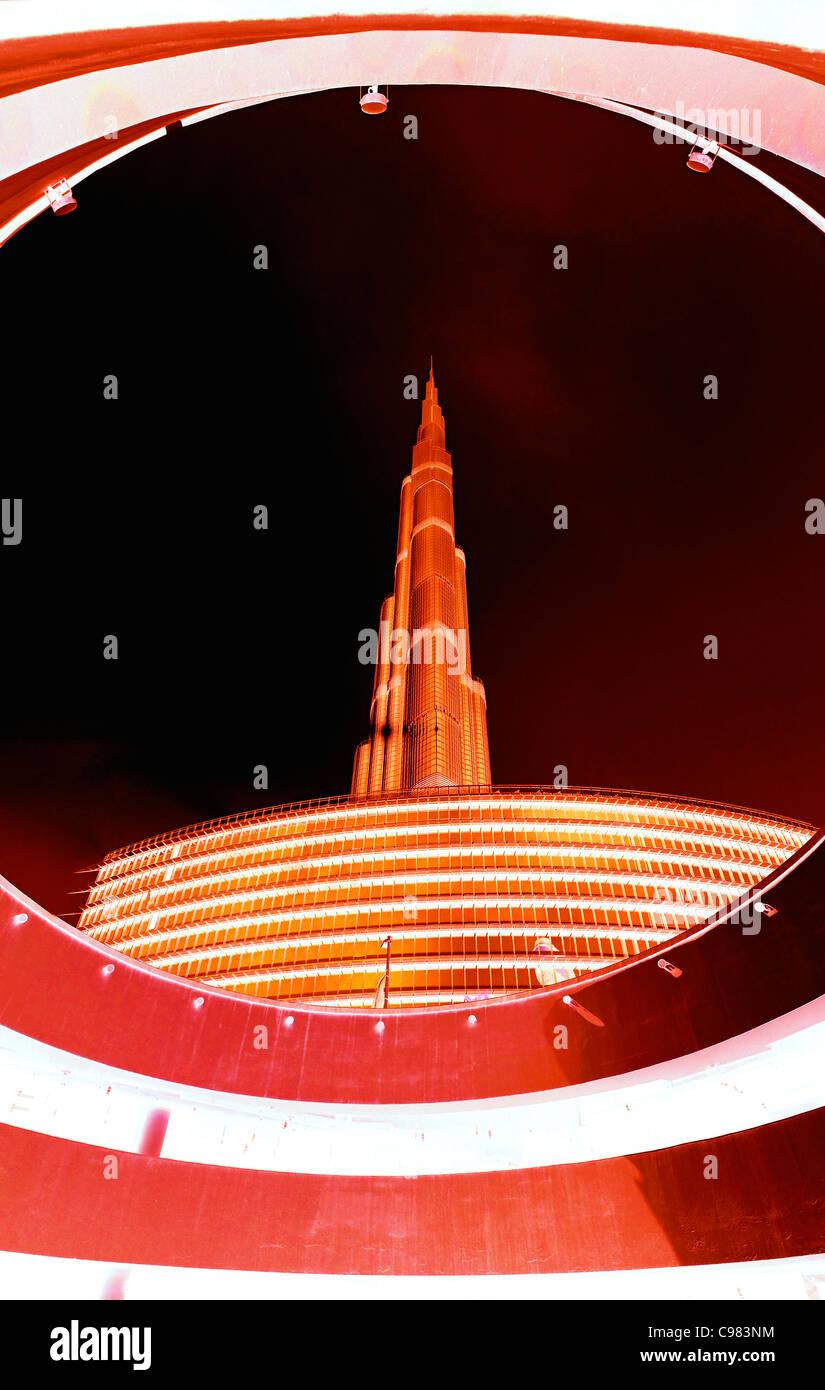 BURJ KHALIFA, BURJ CHALIFA, the tallest tower in the world, 828m height, downtown Dubai, United Arab Emirates, Middle - Stock Image