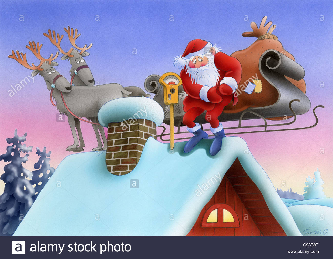 santa claus with reindeer on the house roof parking meter santa claus weihn - Santa And The Reindeer