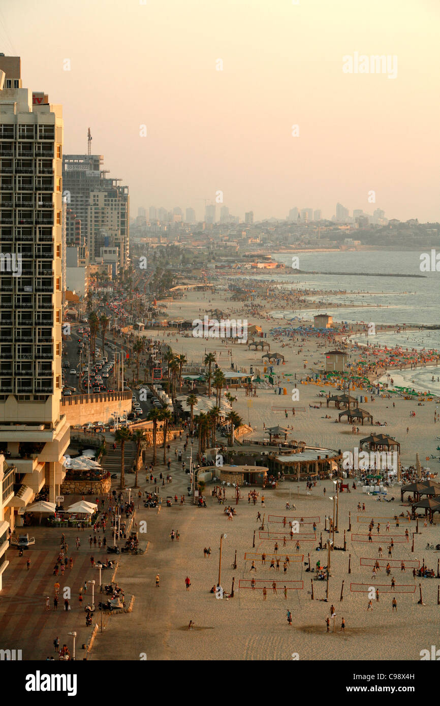 View over the skyline and beaches of of Tel Aviv, Israel. - Stock Image
