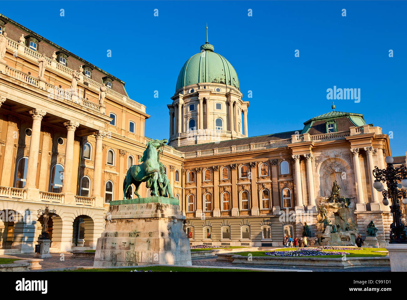 Budapest, Statue of the horseherd Front of Royal Palace - Stock Image