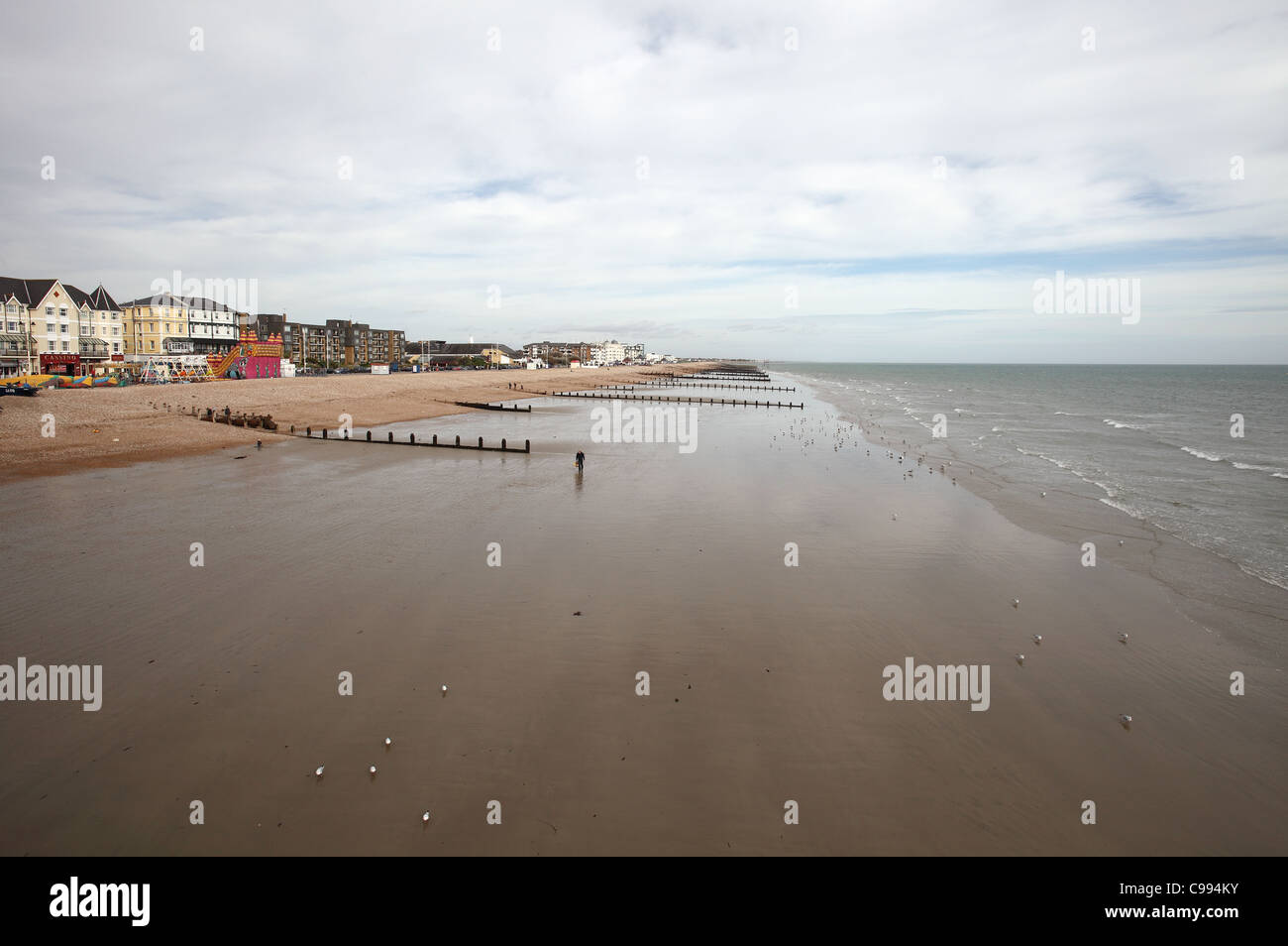 Bognor Regis Seafront and Sands Stock Photo