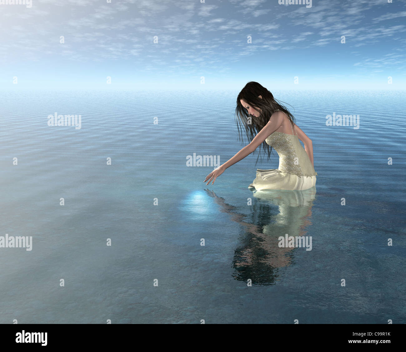 Water Nymph Reflection - Stock Image
