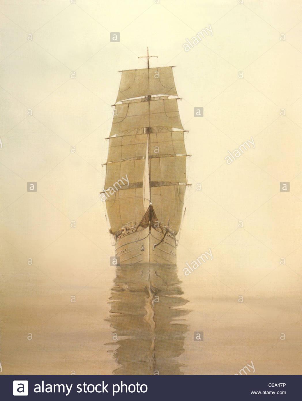 Sail training ship Gorch Foresail (I) - Stock Image