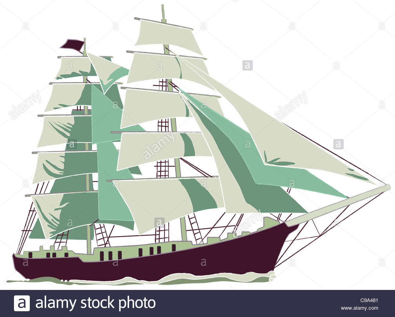 ship Sailing wind Weather See sea seafaring wave ship Ships shipping shippi - Stock Image