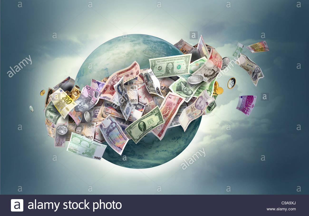 Globalization Finance international international international internation - Stock Image