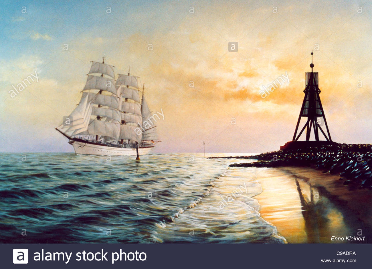Sail training ship Gorch Foresail (II) Elbmndung - Stock Image