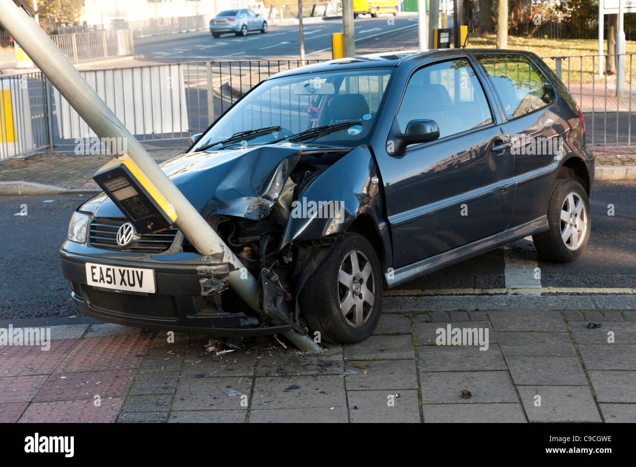 Volkswagen crashed into traffic light, London, England, UK - Stock Image