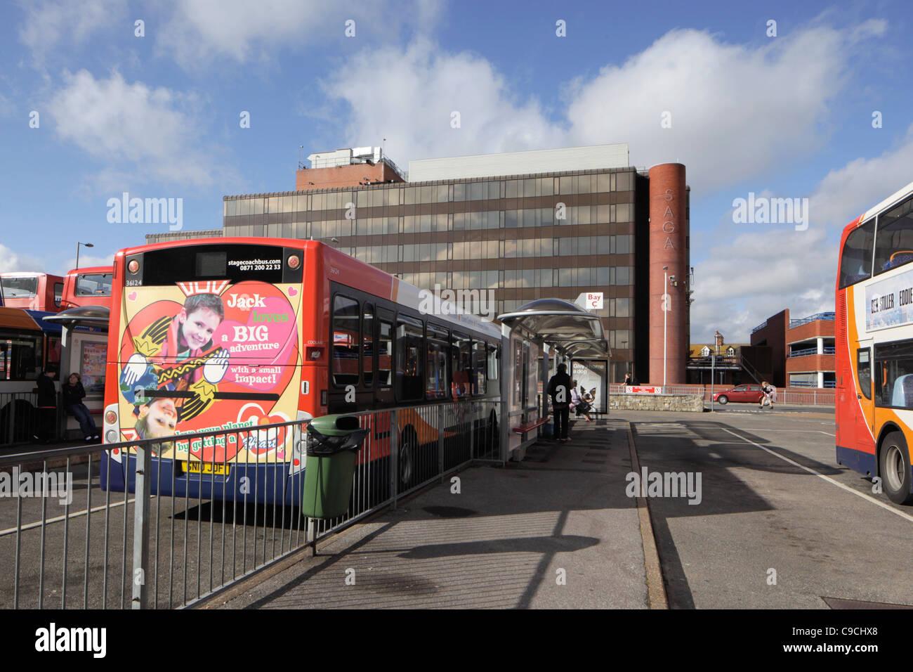 Saga building and bus station Folkestone Kent - Stock Image