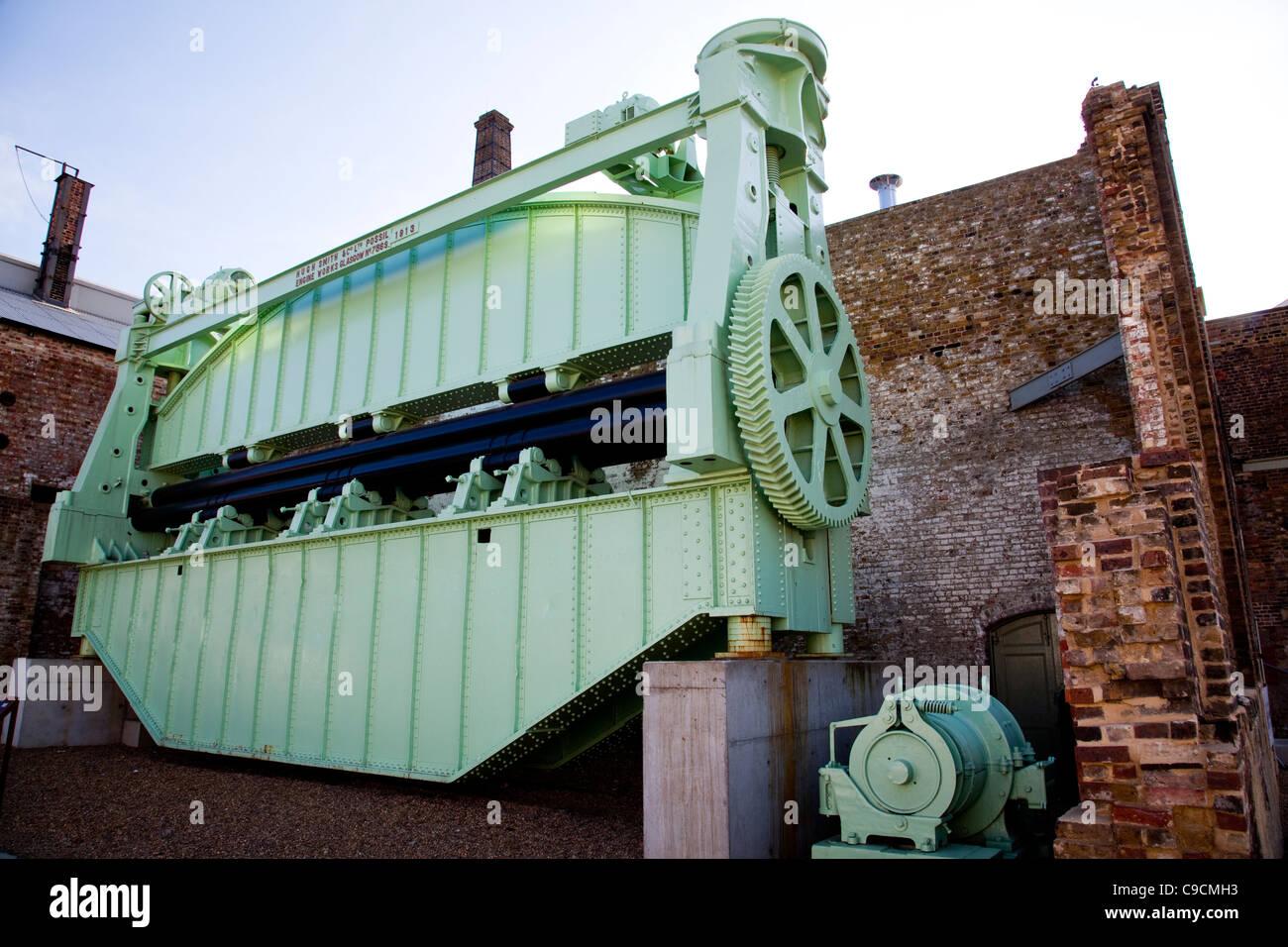 Gigantic plate bending roller - Stock Image