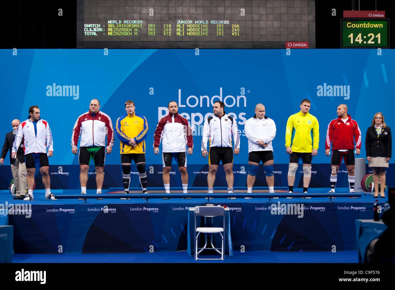 Competitors in the Men's +105kg London Prepares Weightlifting International Invitational, 10–11 Dec 11, ExCel, - Stock Image