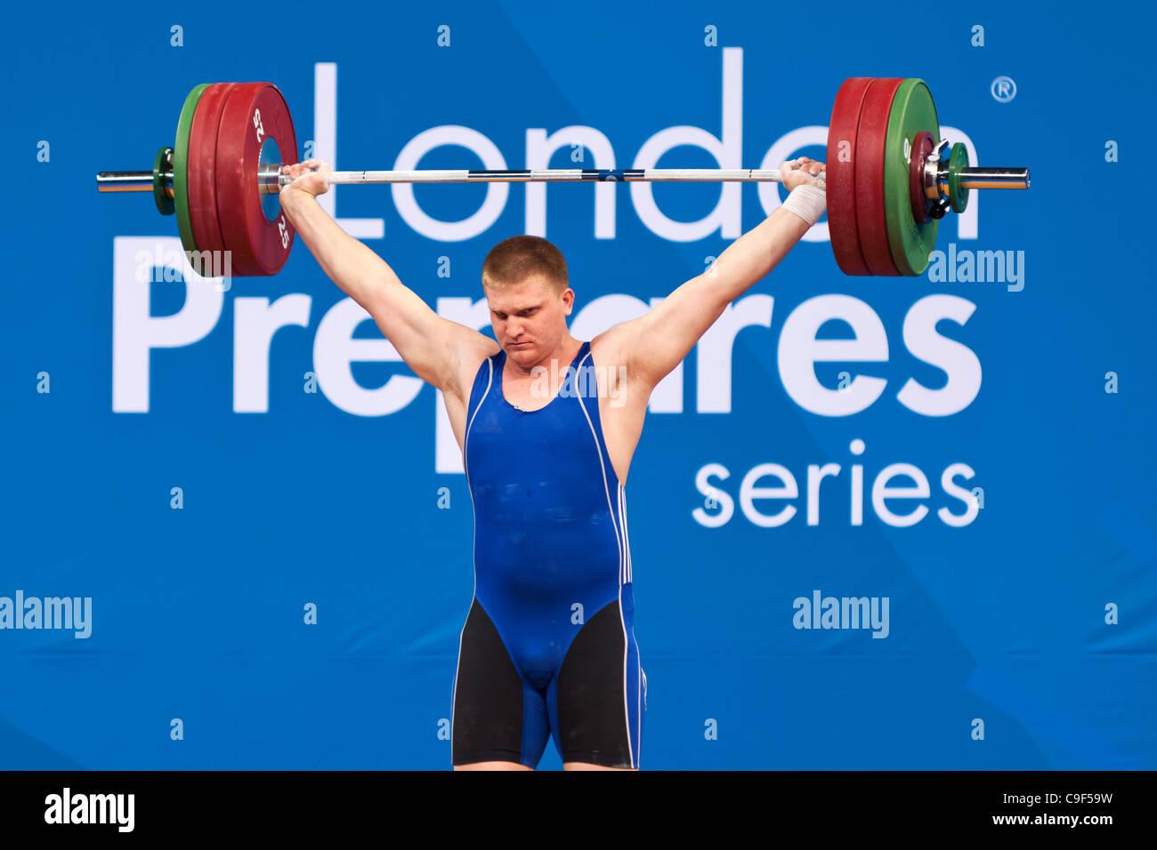 Dmitriy KAPLIN of Kazakhstan competing in the Men's +105kg London Prepares Weightlifting International Invitational, - Stock Image