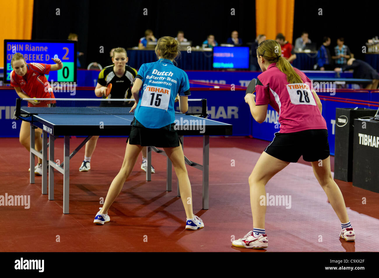 EINDHOVEN, THE NETHERLANDS, 03/03/2012. Overview of a ladies doubles match at the Dutch table tennis championships - Stock Image