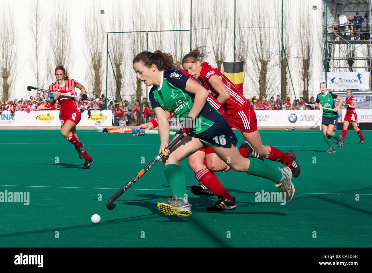 25.03.2012 - Kontich, Belgium - Pictured at the final of the Womens Hockey Olympic Qualifying Tournament between - Stock Image
