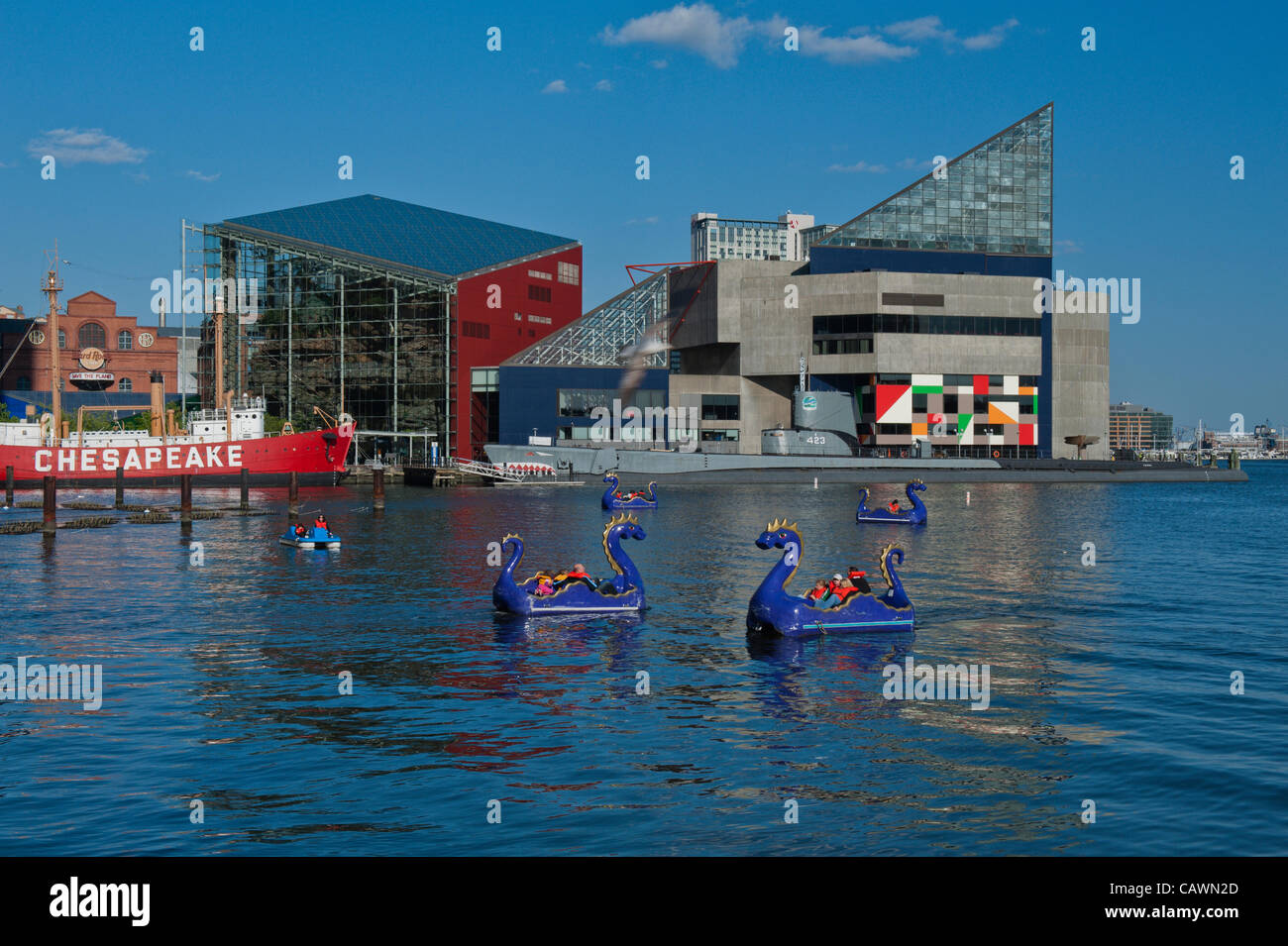 baltimore-usa-27-april-2012-brightly-colored-paddle-boats-called-chessie-CAWN2D.jpg