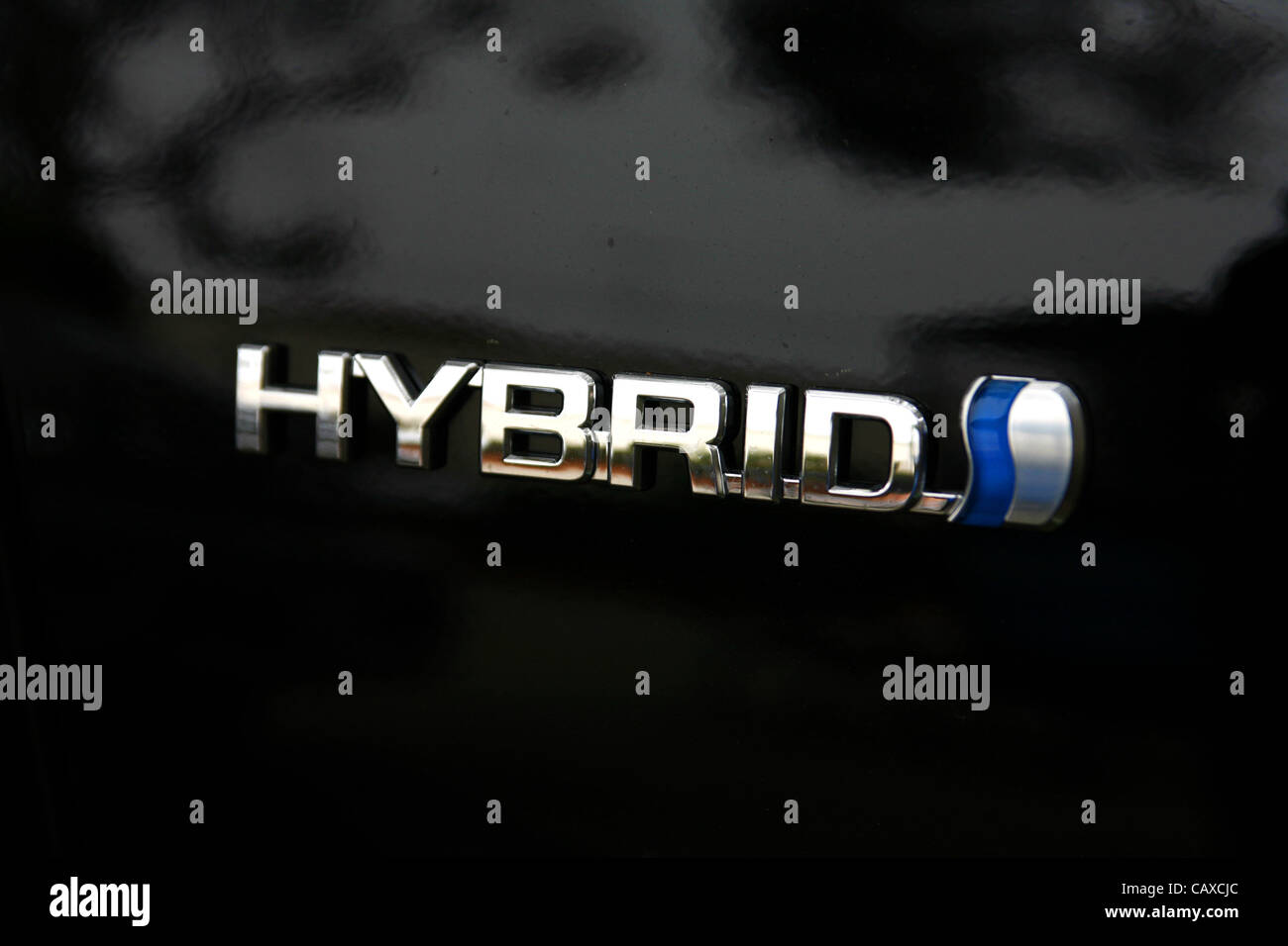 Oct 02, 2007 - La Jolla, California, USA - Hybrid Synergy drive badge on a Toyota Prius. Hybrid cars are becoming - Stock Image