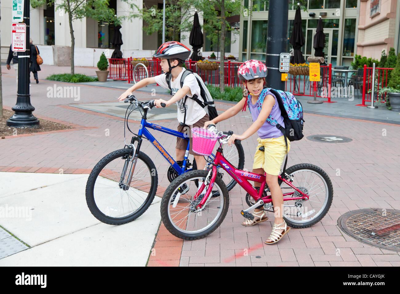 May 9, 2012 - Arlington, Virginia, USA - National Bike to School Day, Key School Escuela Key Elementary (Credit Stock Photo