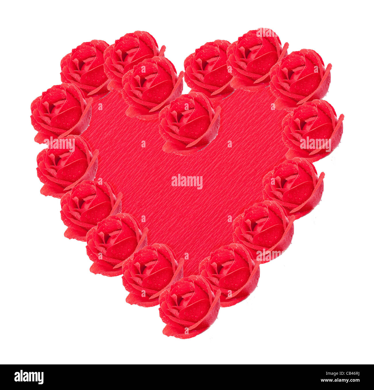 Red heart with roses - Stock Image