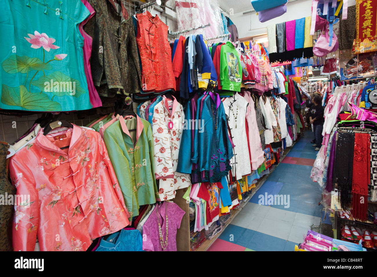 china hong kong stanley market chinese clothes shop stock photo