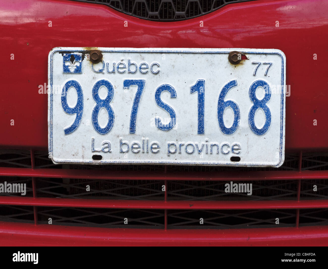1977 Quebec license plate with slogan 'La belle province' (the beautiful province). - Stock Image