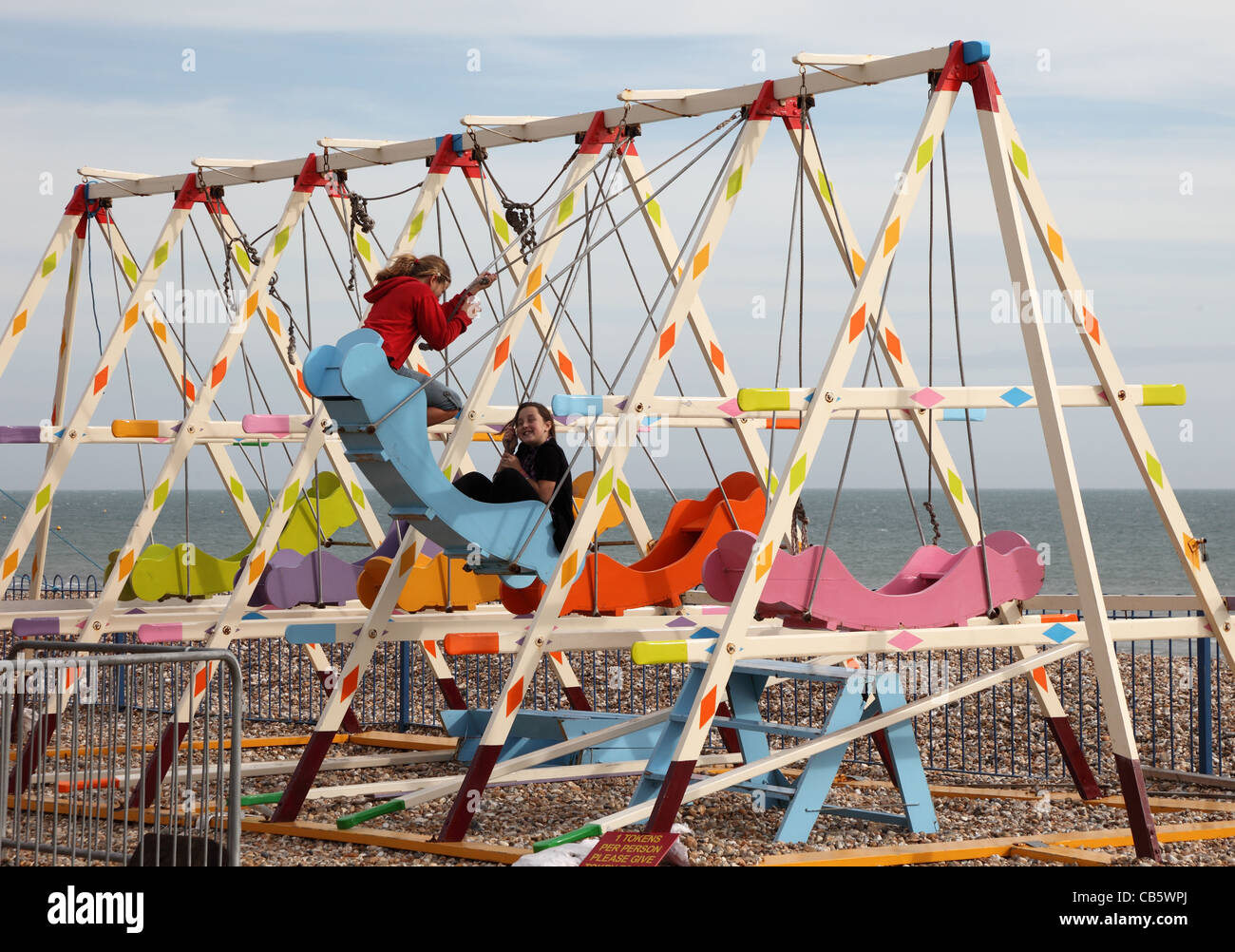 childrens-fair-ground-swings-bognor-regis-west-sussex-CB5WPJ.jpg