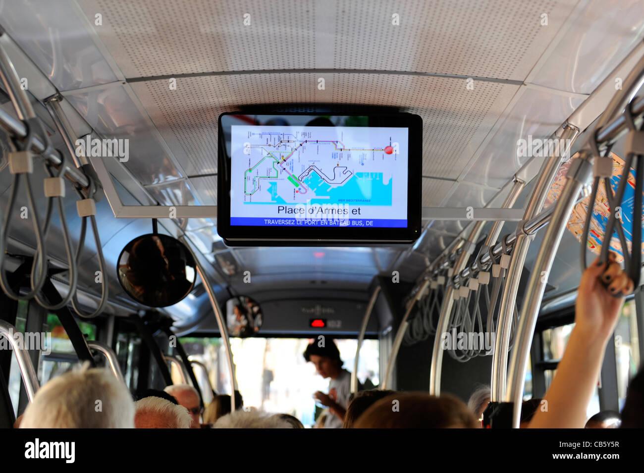 Public Transportation Bus Computer Monitor Monte Carlo Monaco Principality French Riviera Mediterranean Cote d'Azur - Stock Image
