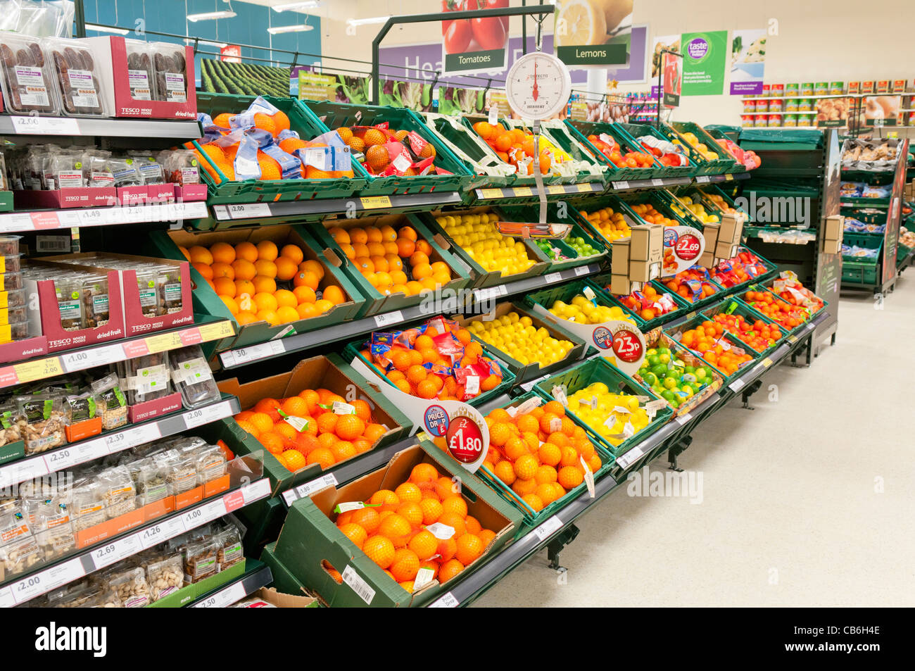 Fruit department inside a Tesco store Stock Photo