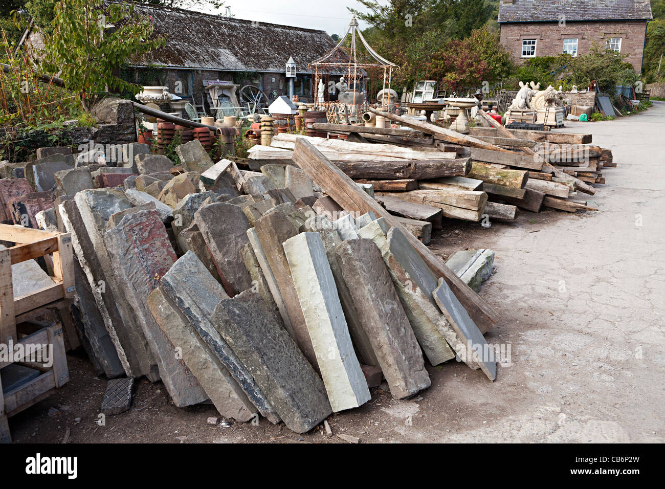 Stone lintels in architectural salvage yard Wales UK - Stock Image