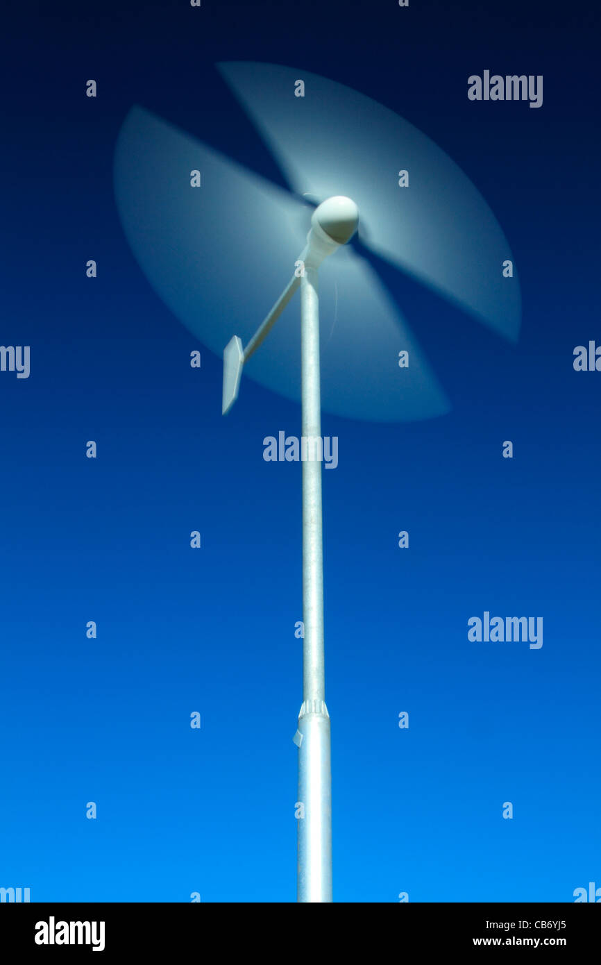 Motion blur of wind turbine blades - Stock Image