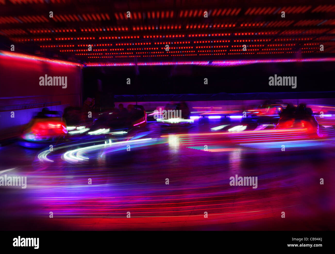 dodgem cars in motion - Stock Image