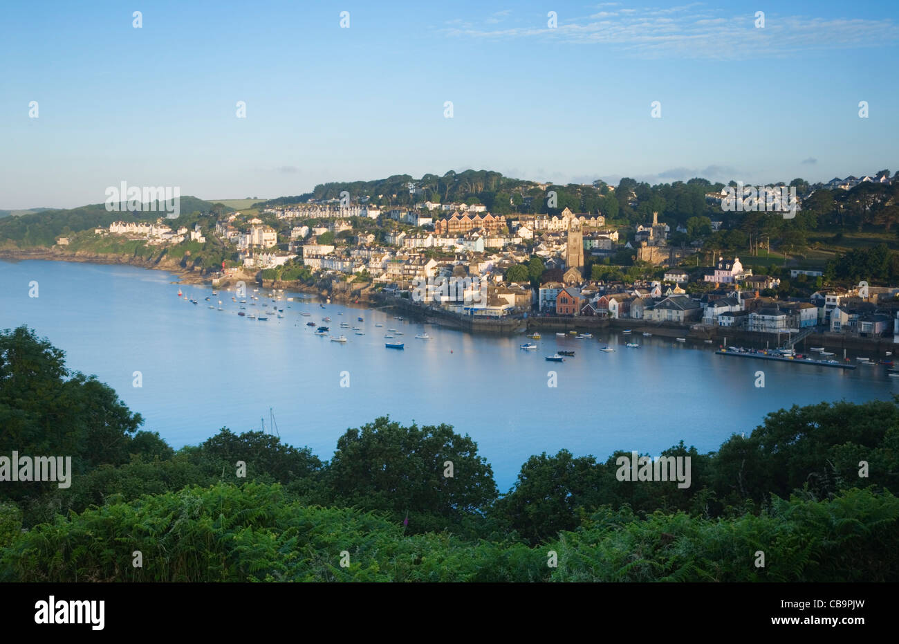 Fowey and the River Fowey Estuary, seen from the Hall Walk. Cornwall. England. UK. - Stock Image