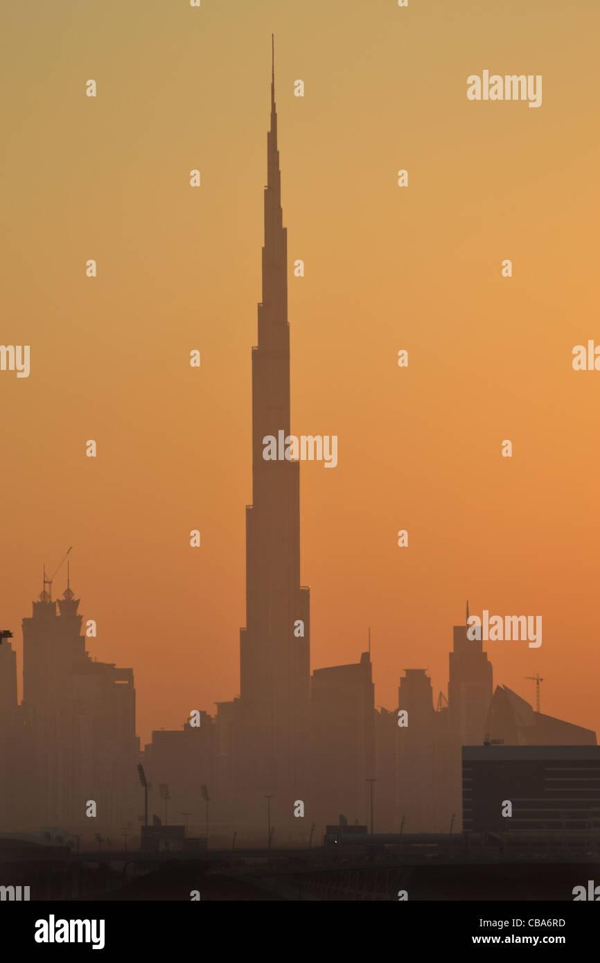Burj Khalifa, Dubai, UAE at sunset - largest building in world - Stock Image
