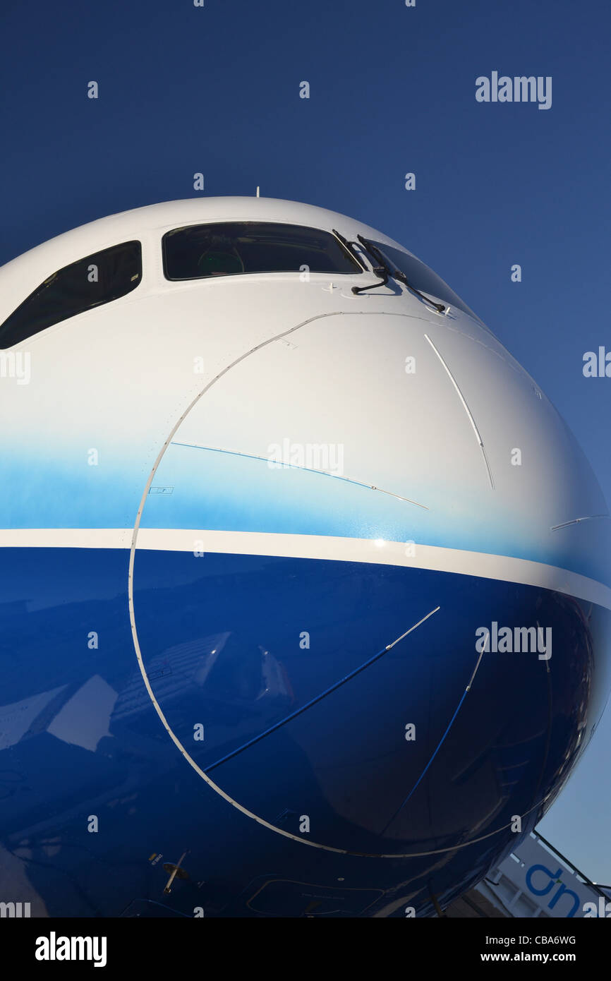 Nose and cockpit area of Boeing 787 Dreamliner - Stock Image