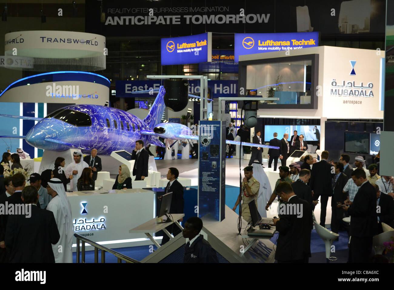 Dubai Airshow November, 2011, main hall, Dubai Expo. - Stock Image