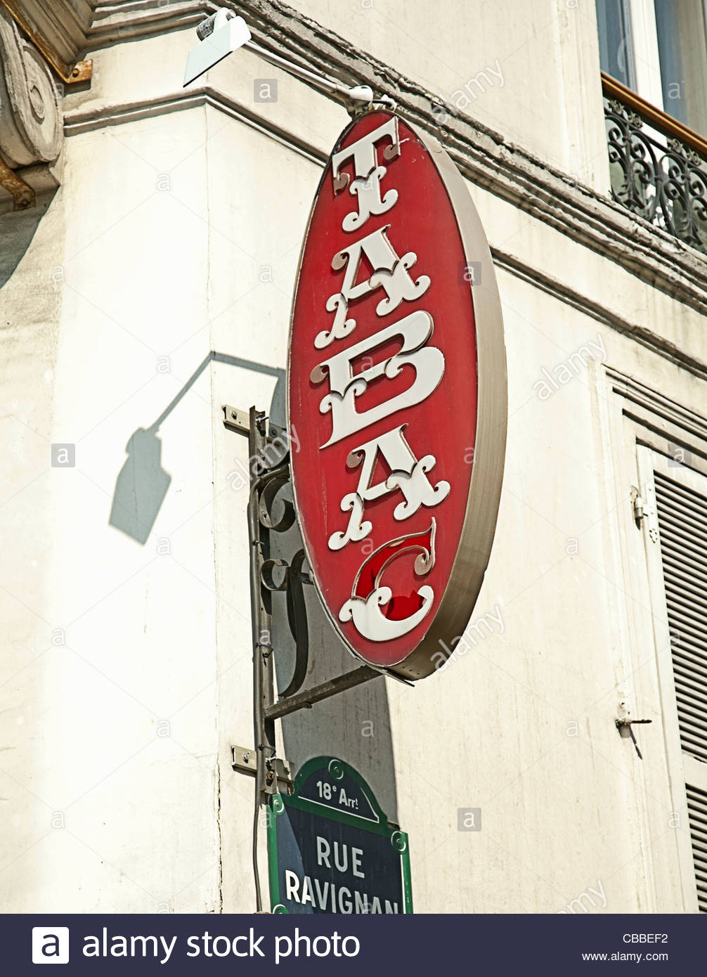 Tabac sign on French street - Stock Image