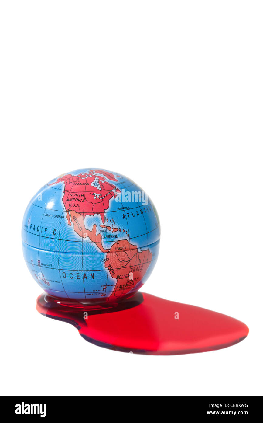Bleeding world metaphor globe on white background with blood spilling out - Stock Image