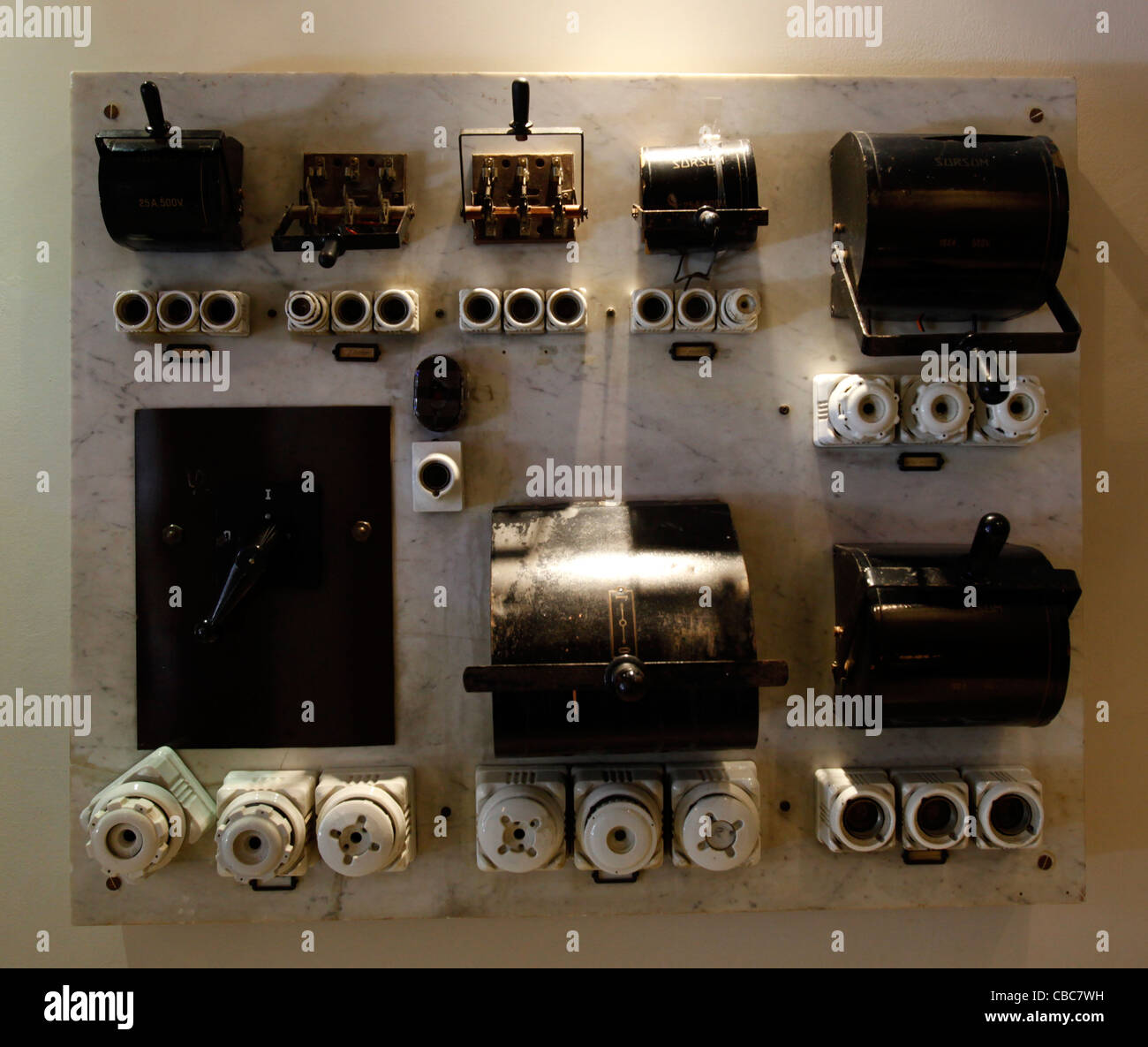 an old electric fuse box switchboard with ceramic fuses stock photo ceramic fuse blocks an old electric fuse box switchboard with ceramic fuses