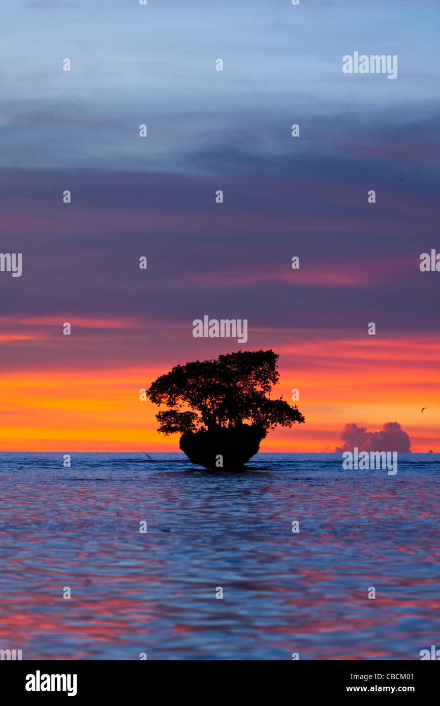 Sunset at Cenderawasih Bay, Cenderawasih Bay, West Papua, Indonesia - Stock Image