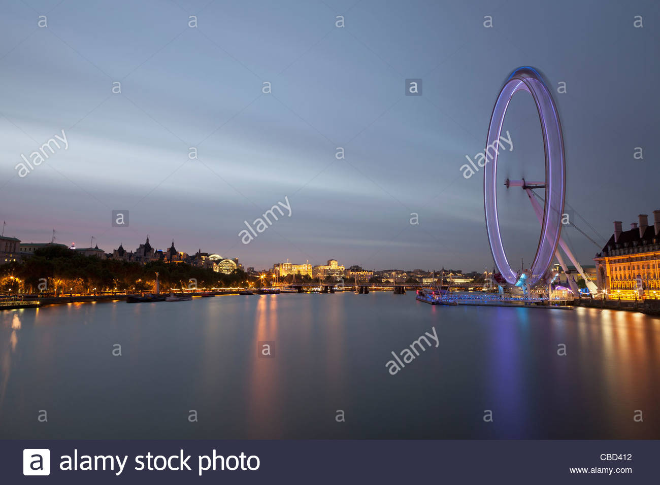 Time lapse view of London Eye - Stock Image