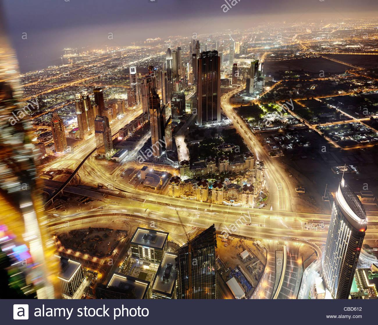 Aerial time-lapse view of Dubai - Stock Image