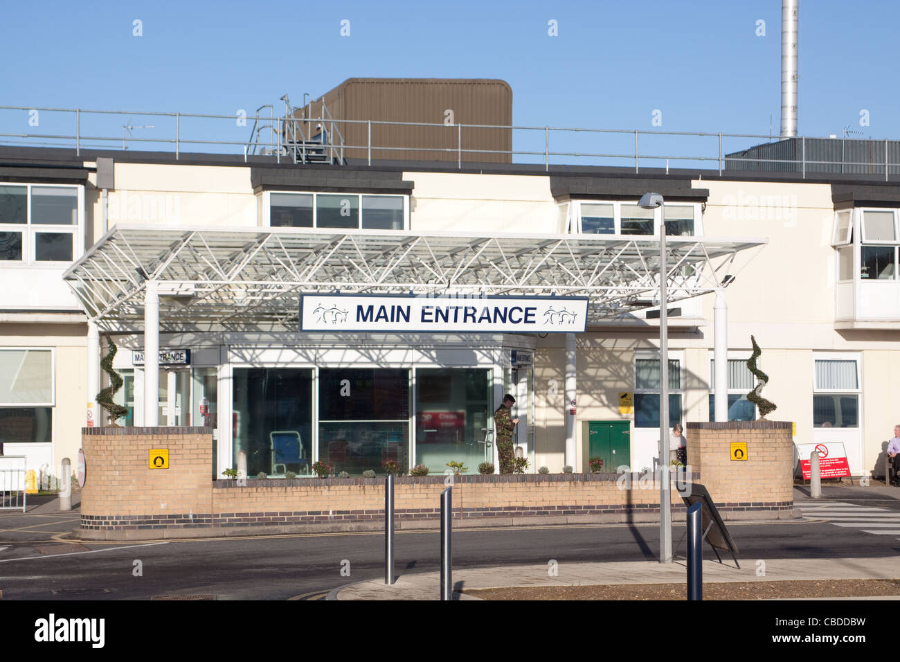 The main entrance of Frimley Park Hospital Stock Photo