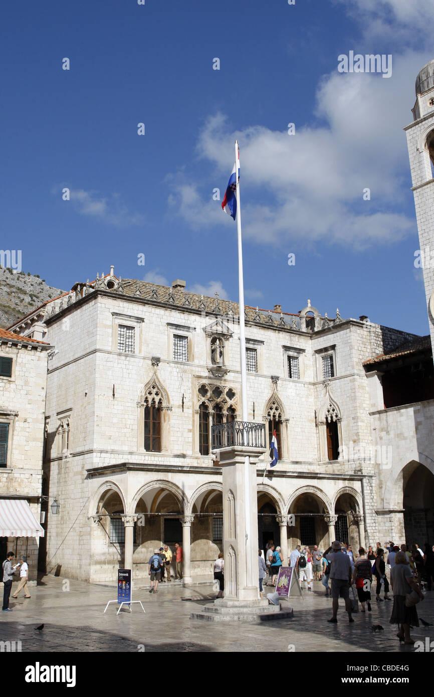 SPONZA PALACE & LUZA SQUARE OLD TOWN DUBROVNIK CROATIA 08 October 2011 - Stock Image
