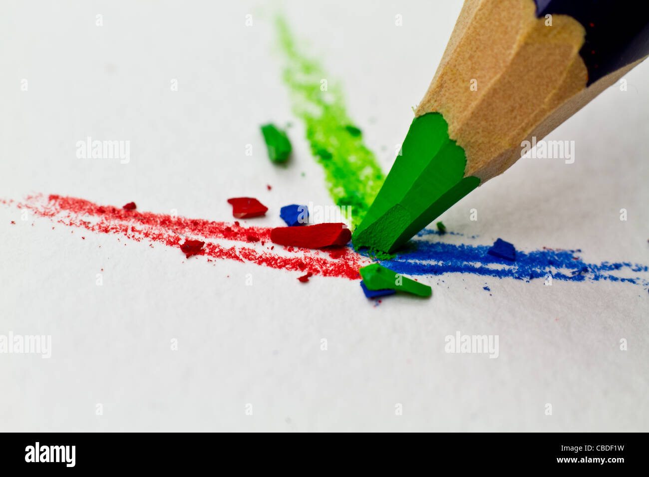 colored pencils in action. - Stock Image