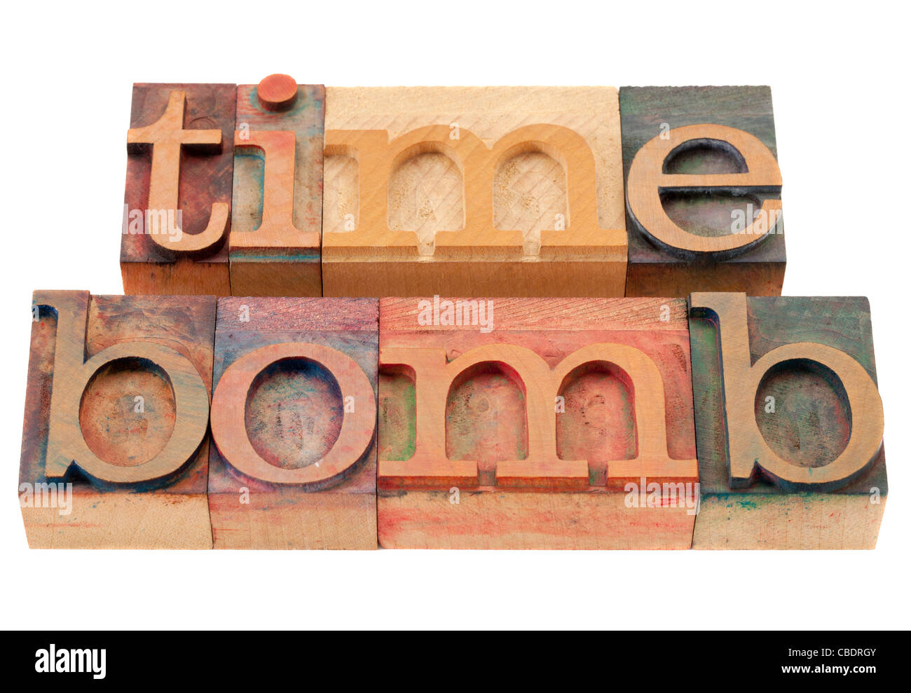 time bomb - isolated words in vintage wood letterpress printing blocks - Stock Image