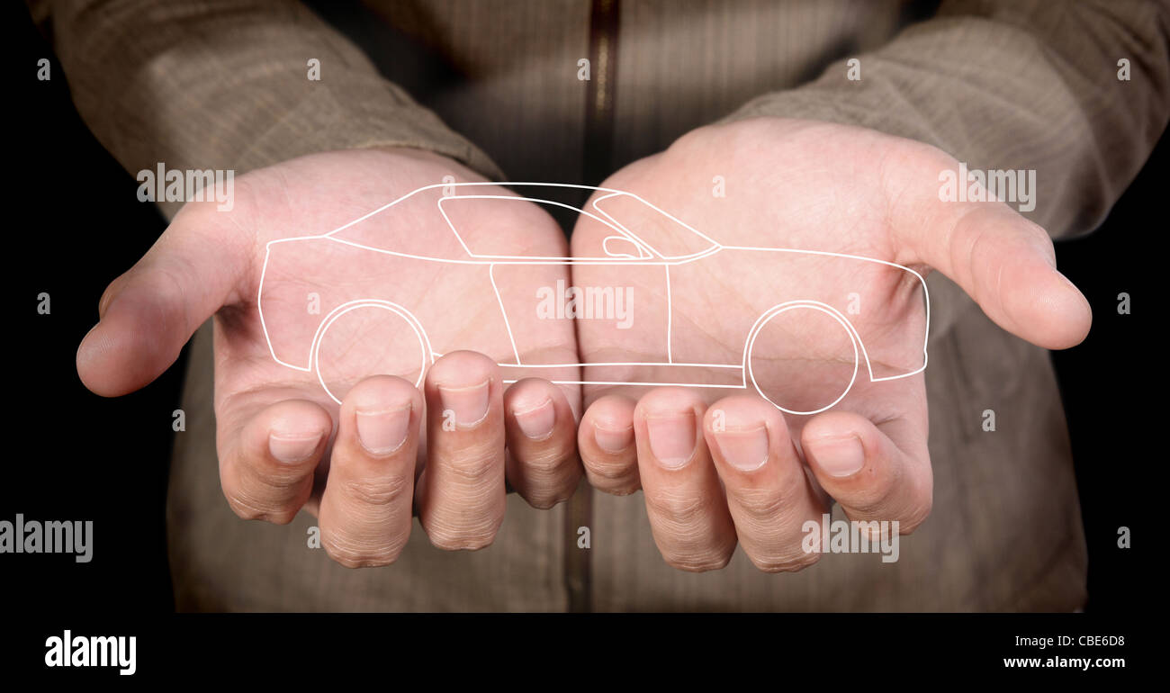 line-art car in human hands - Stock Image