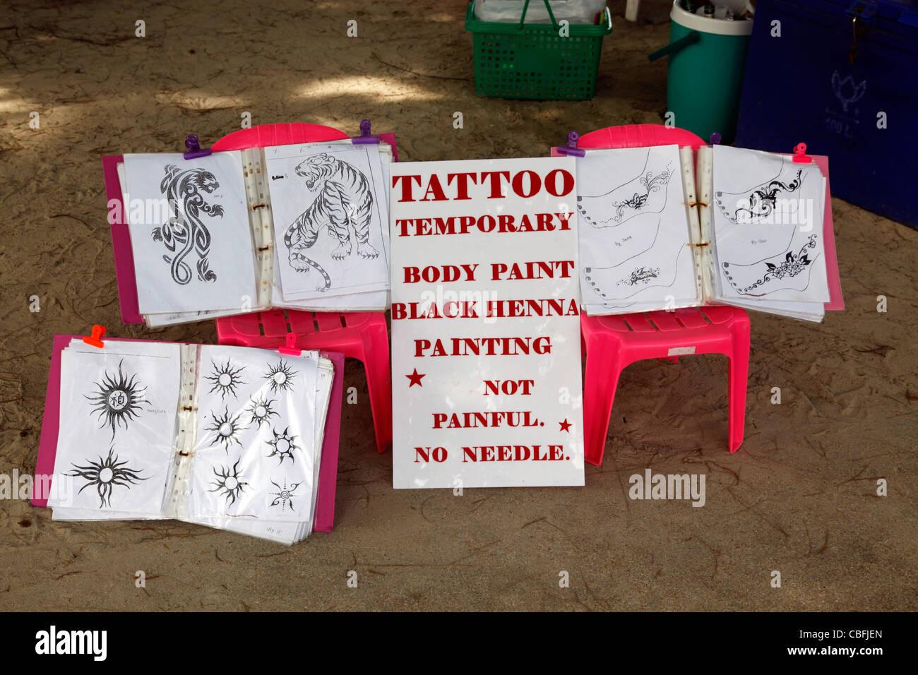 Henna Tattoo Thailand : Henna tattoo advert for temporary tattoos and body painting