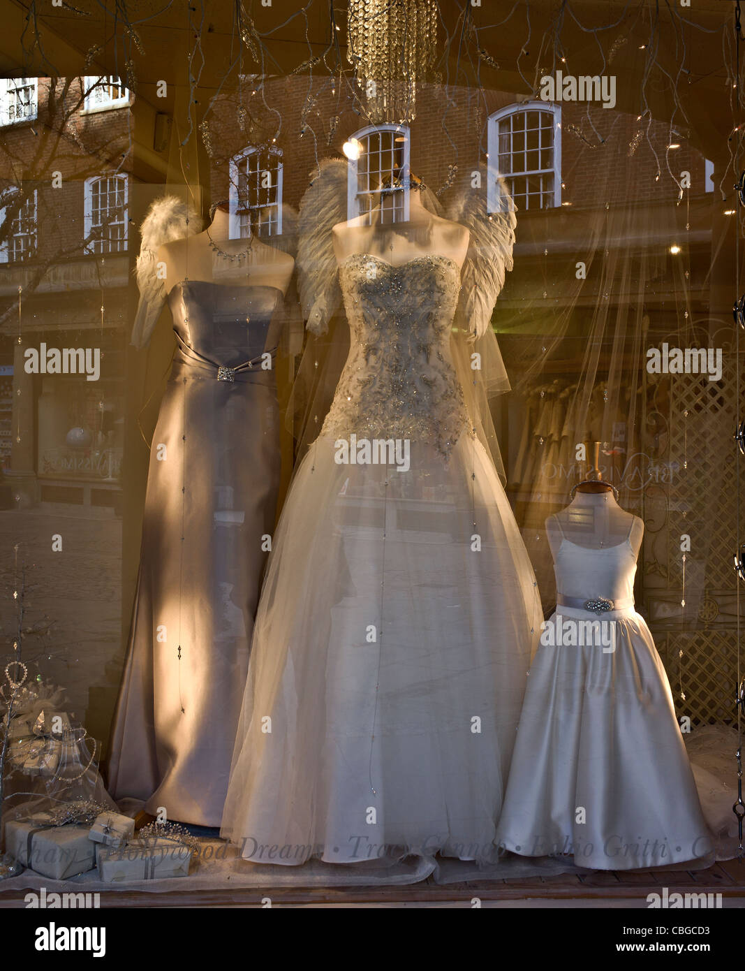 Wedding dress shop window with reflections Stock Photo