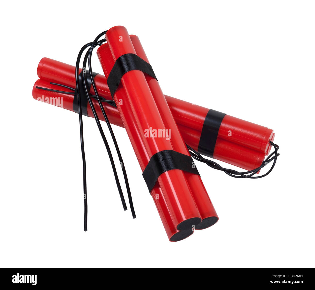 A couple of bundles of red sticks of dynamite with long fuses - path included - Stock Image