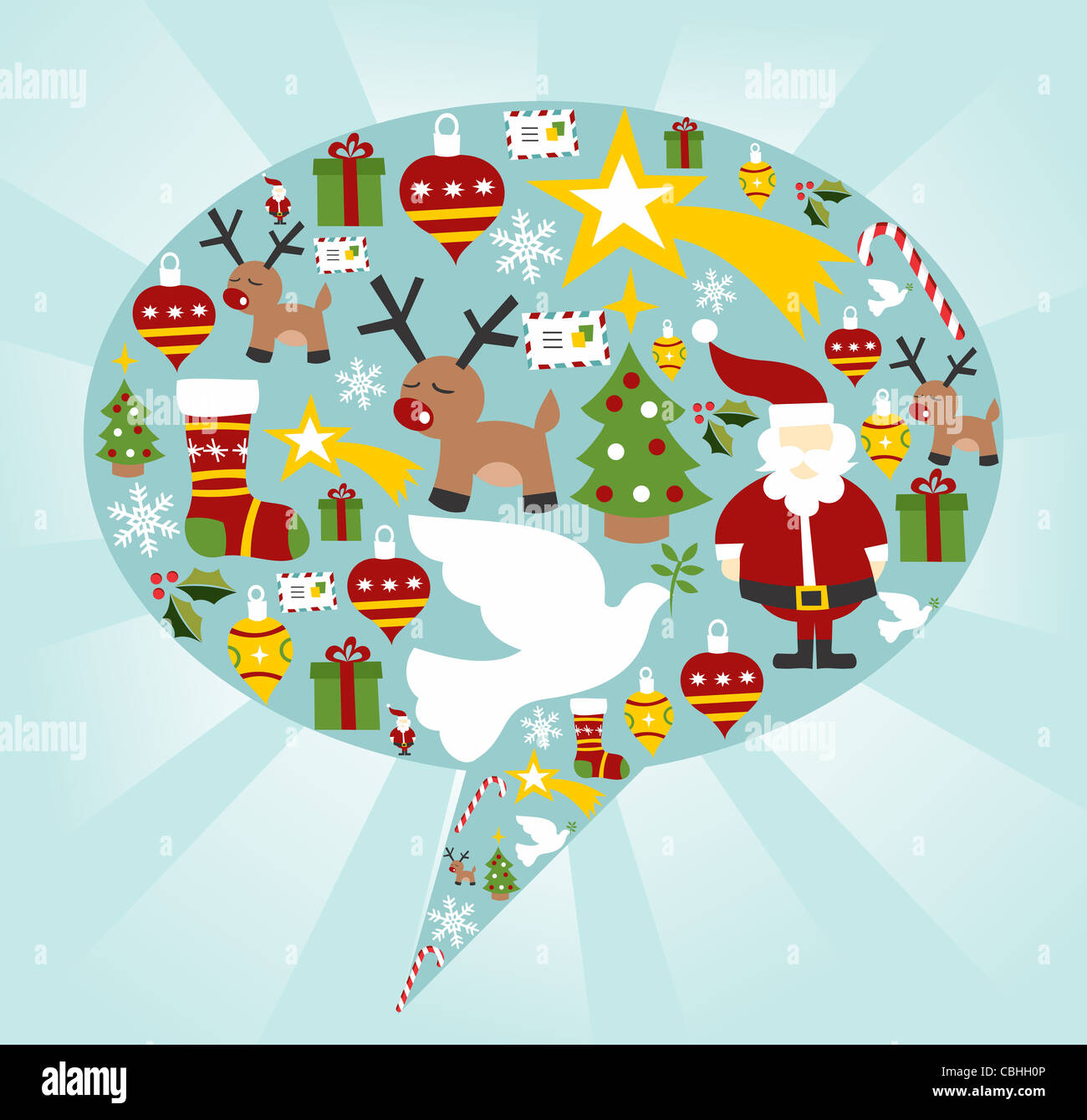 Xmas icon set in speech bubble shape background. Vector file available. - Stock Image