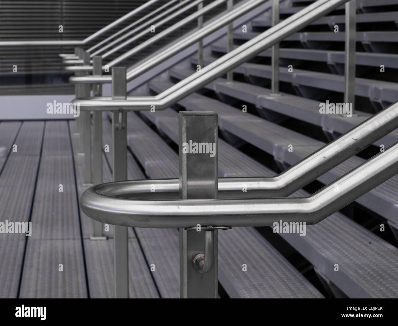 Contemporary handrail detail at the Colorado Convention Center in Downtown Denver. - Stock Image